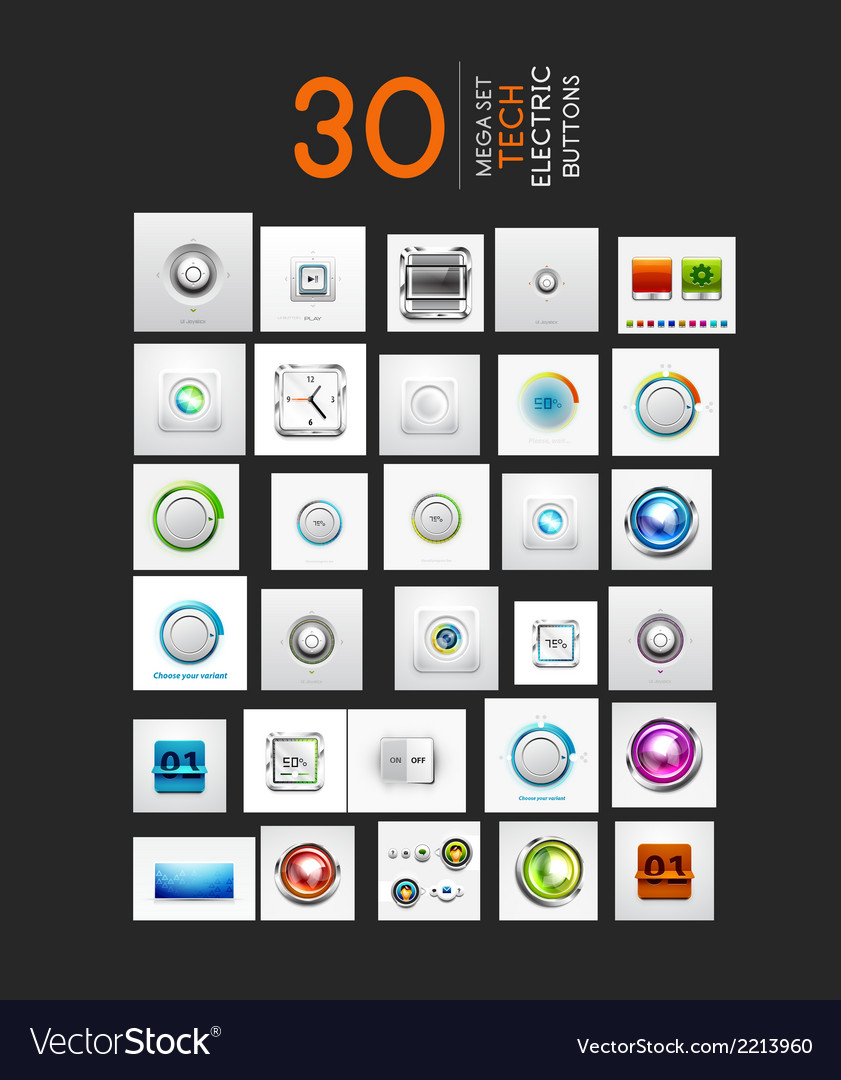 Mega collection of ui buttons set vector | Price: 1 Credit (USD $1)