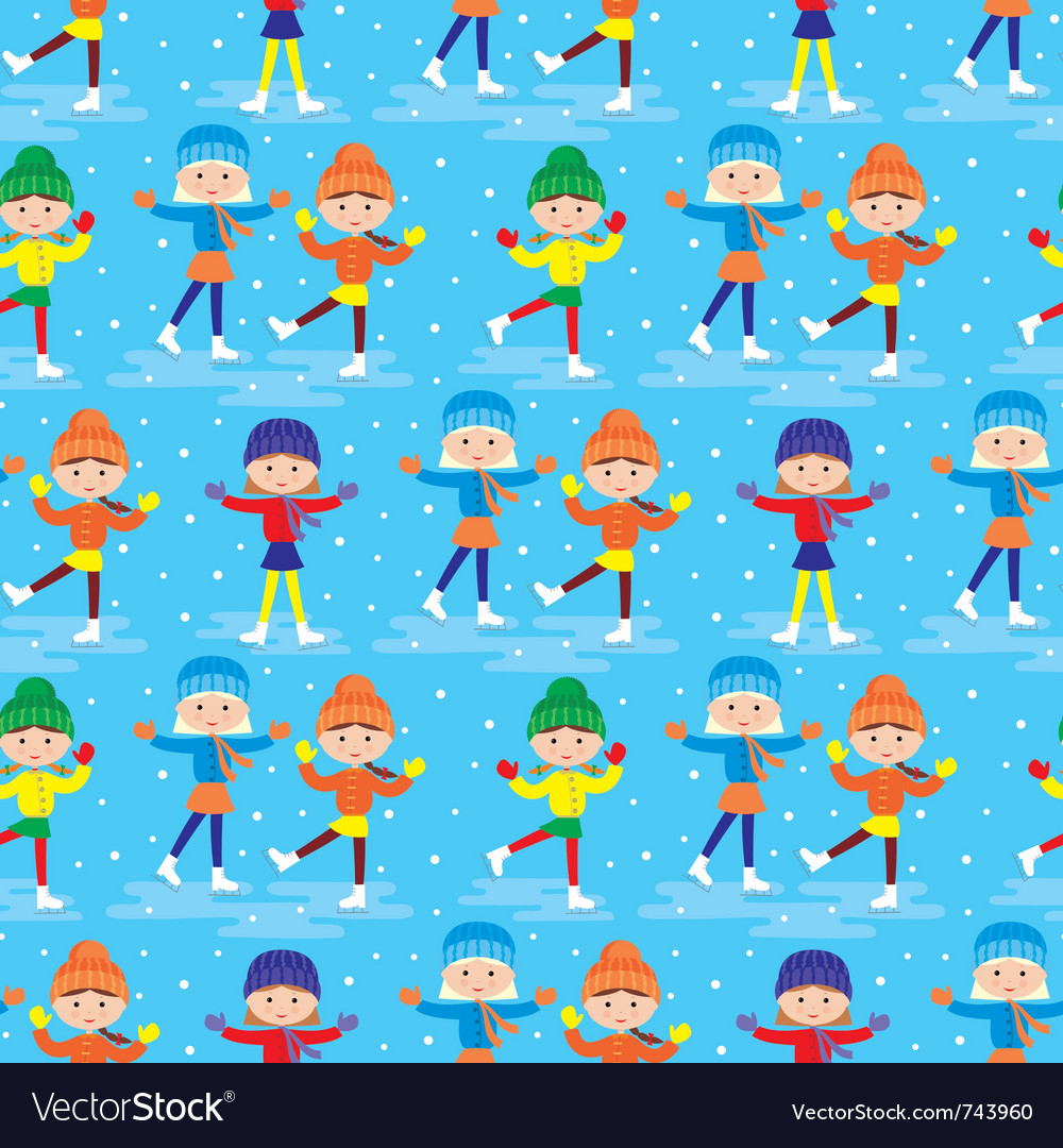 Seamless girls on a skating rink pattern vector | Price: 1 Credit (USD $1)