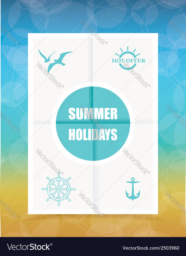 Summer label on folded paper vector | Price: 1 Credit (USD $1)
