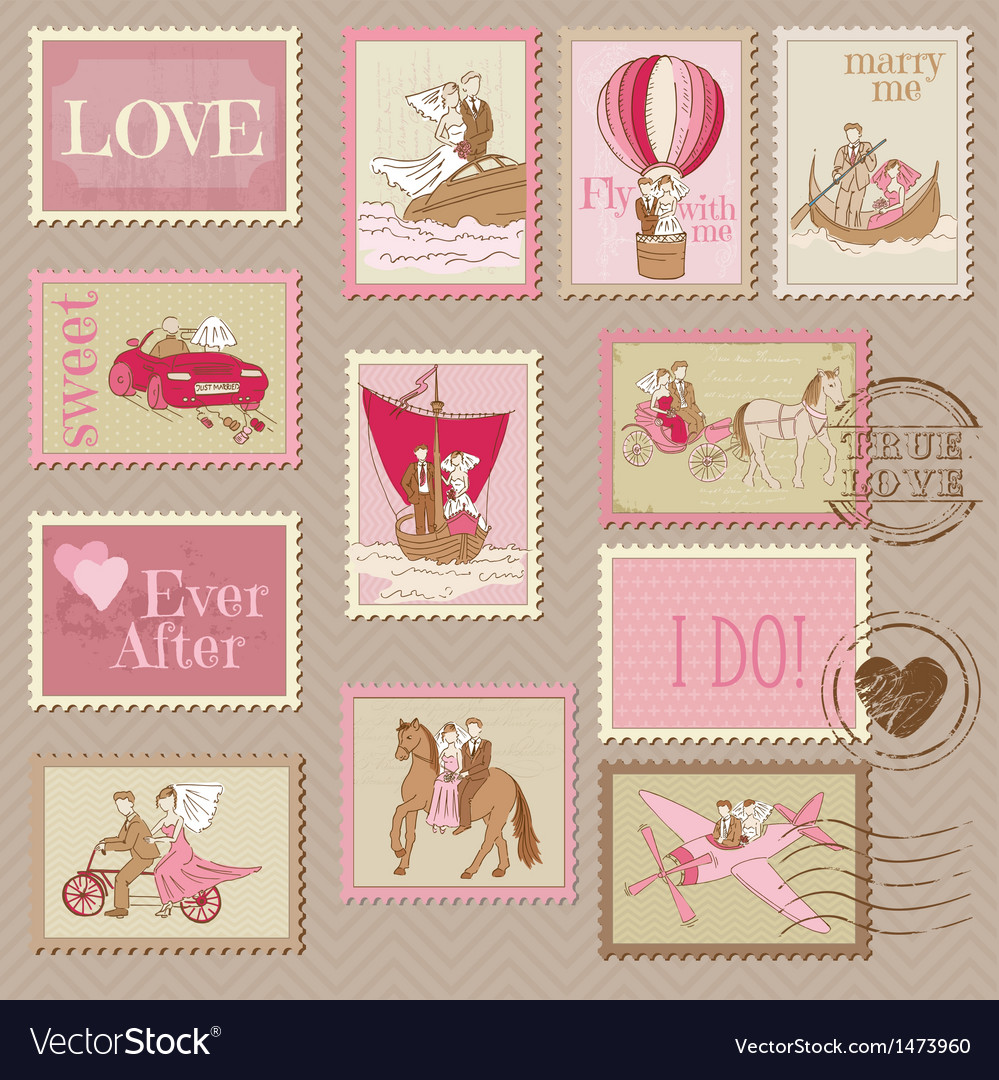 Wedding postage stamps vector | Price: 3 Credit (USD $3)
