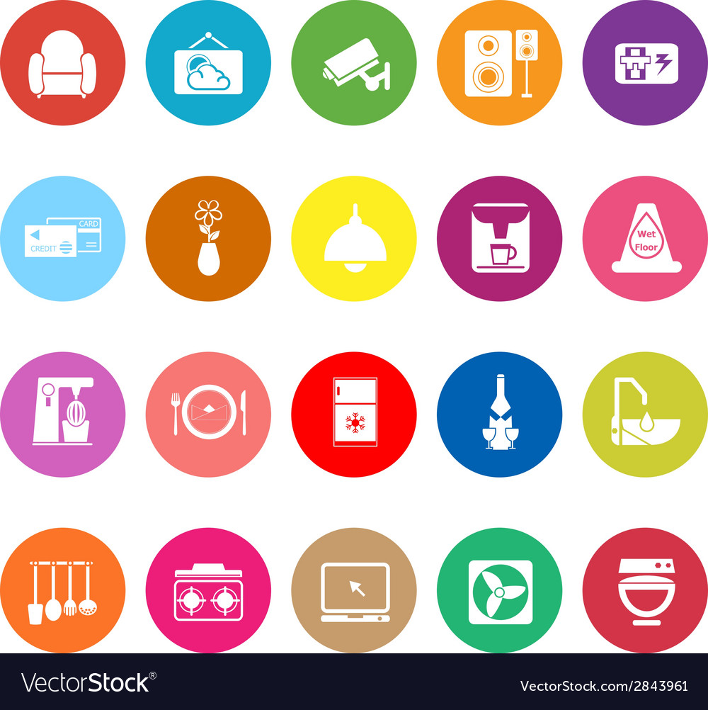 Cafe and restaurant flat icons on white background vector | Price: 1 Credit (USD $1)