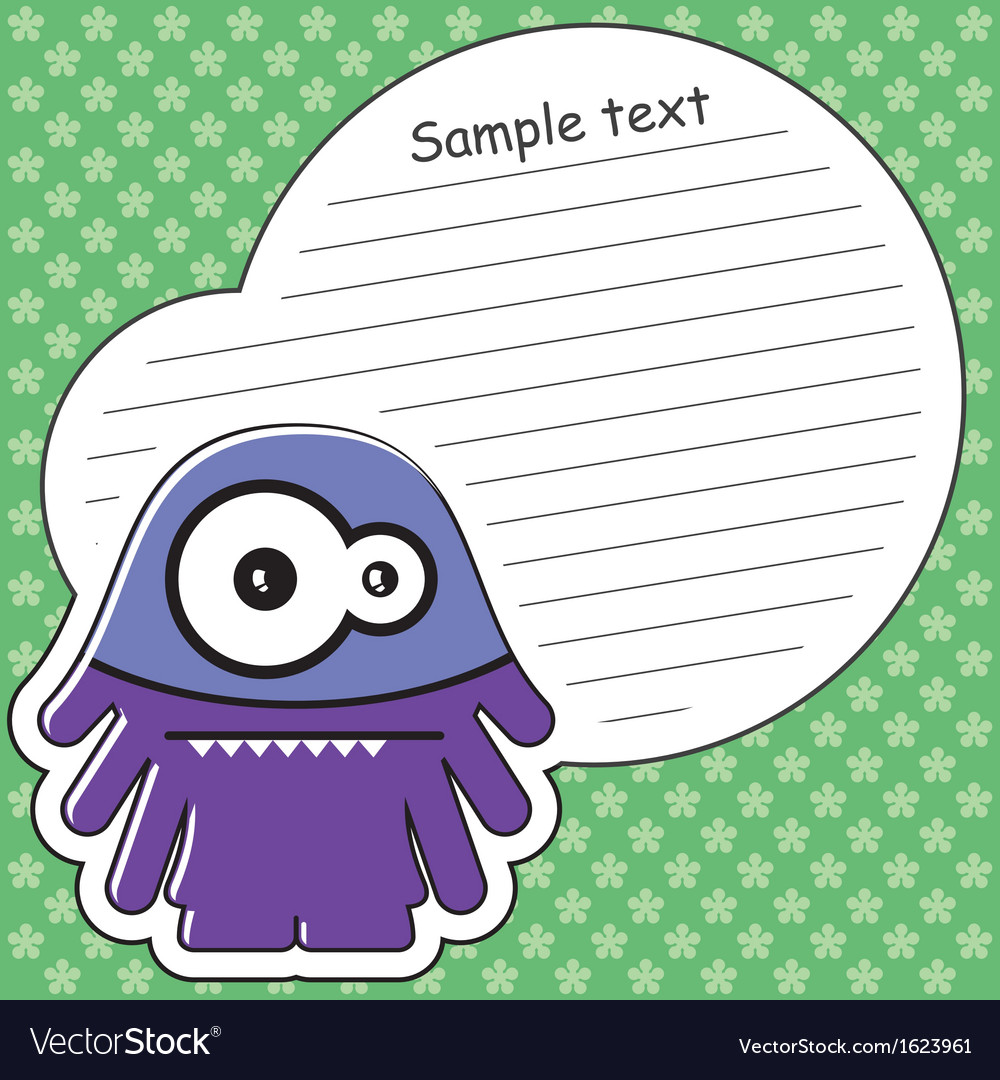 Cartoon monster with message cloud vector   Price: 1 Credit (USD $1)