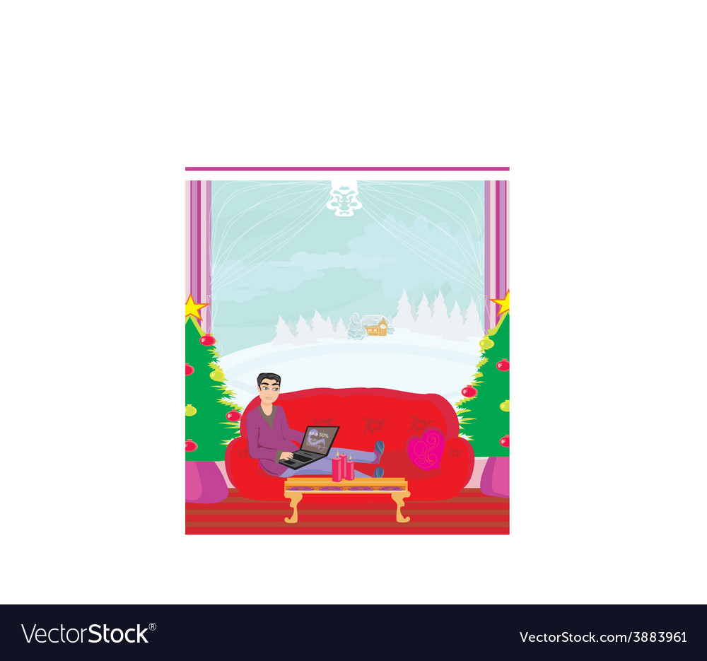 Christmas shopping online vector | Price: 1 Credit (USD $1)