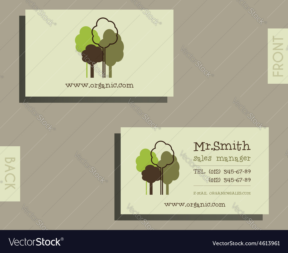 Eco organic visiting card template for natural vector   Price: 1 Credit (USD $1)