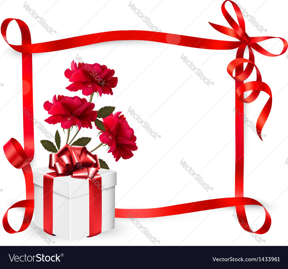 Holiday background with three roses and gift box vector | Price: 1 Credit (USD $1)