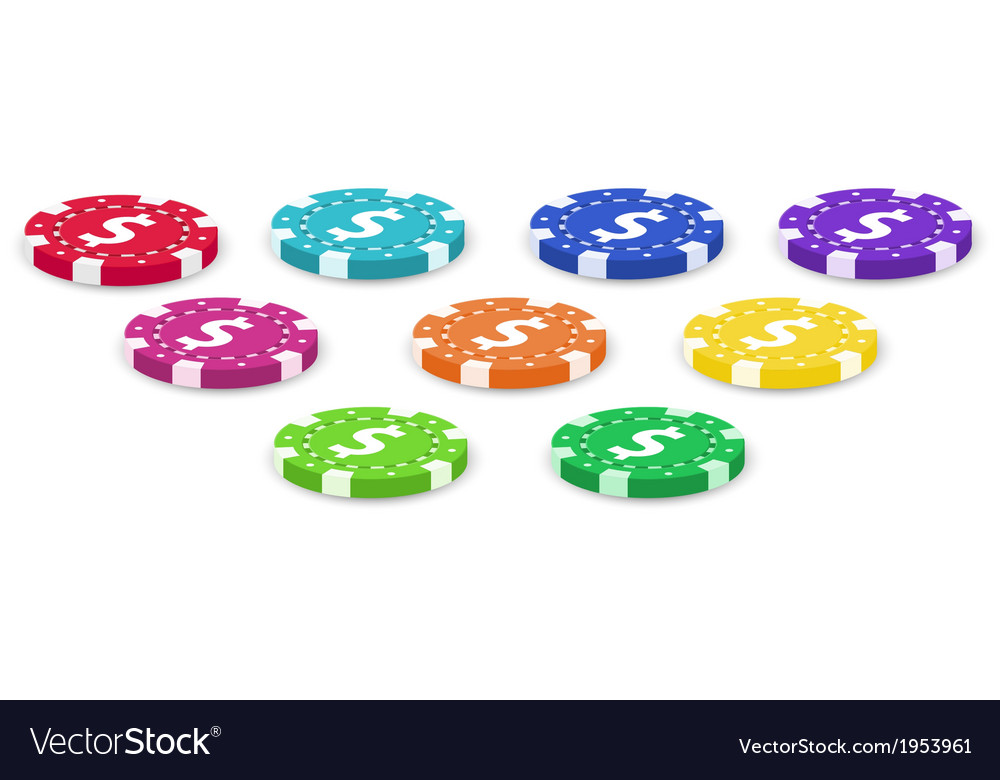 Nine colorful poker chips vector | Price: 1 Credit (USD $1)