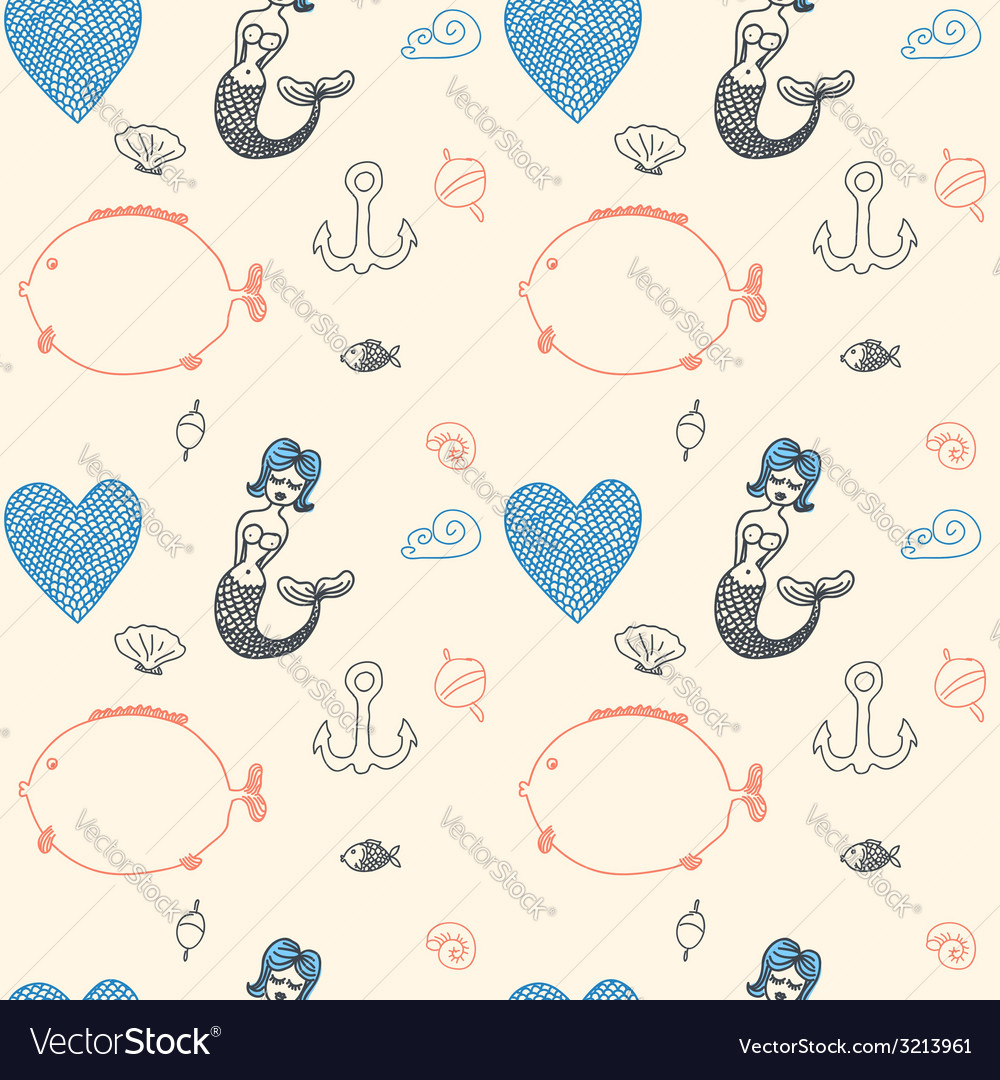 Ornament seamless cute sea objects collection vector | Price: 1 Credit (USD $1)