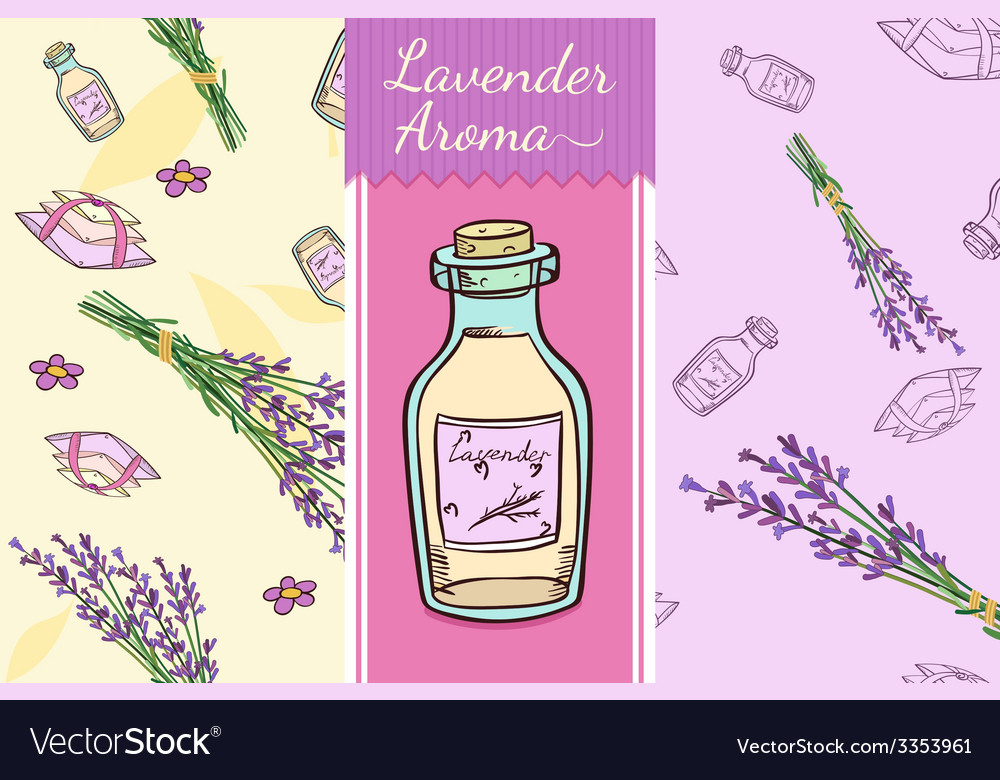 Perfect lavender set two seamless patterns bottle vector | Price: 1 Credit (USD $1)