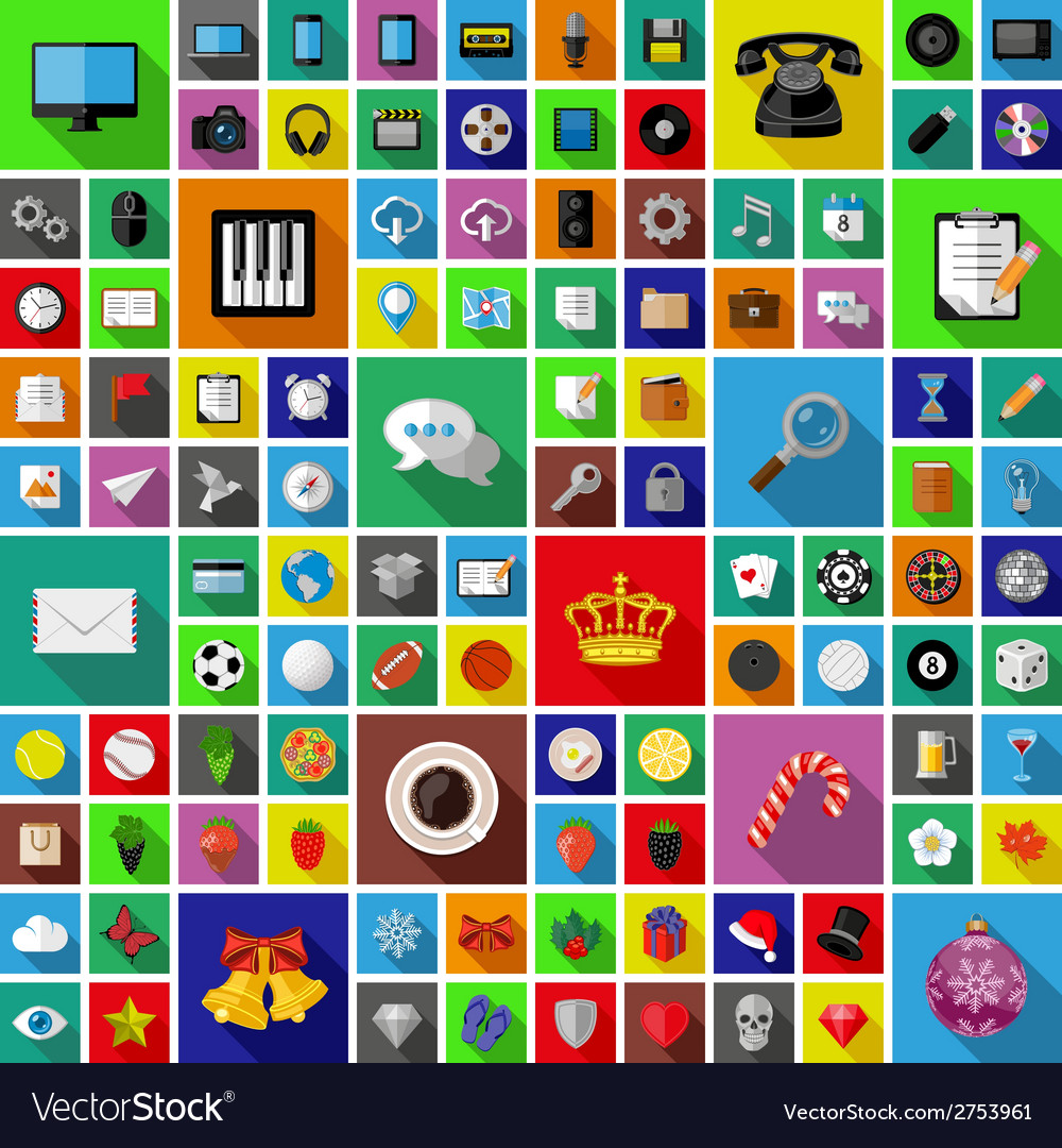 Set of universal icons with long shadow vector | Price: 1 Credit (USD $1)