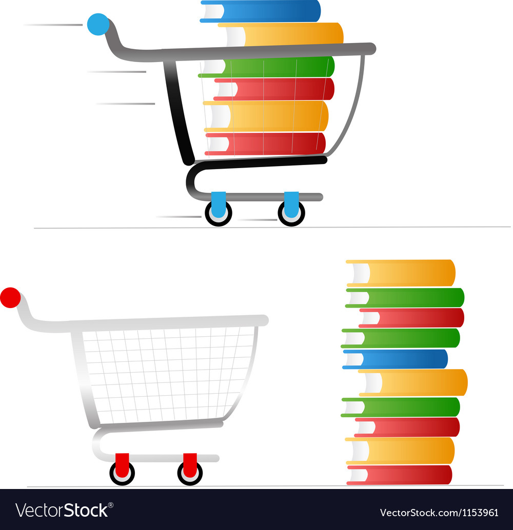 Shopping trolley with colour books vector | Price: 1 Credit (USD $1)