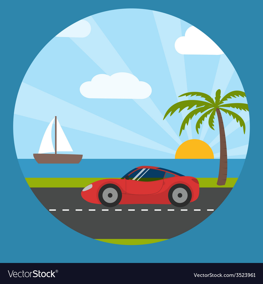 Sports car on the seaside vector | Price: 1 Credit (USD $1)