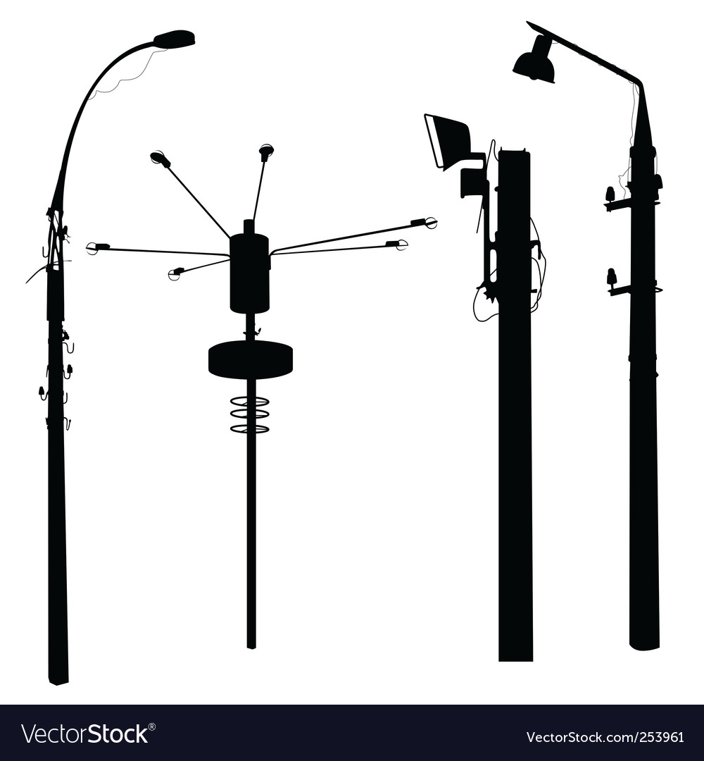 Street lamp silhouettes vector | Price: 1 Credit (USD $1)