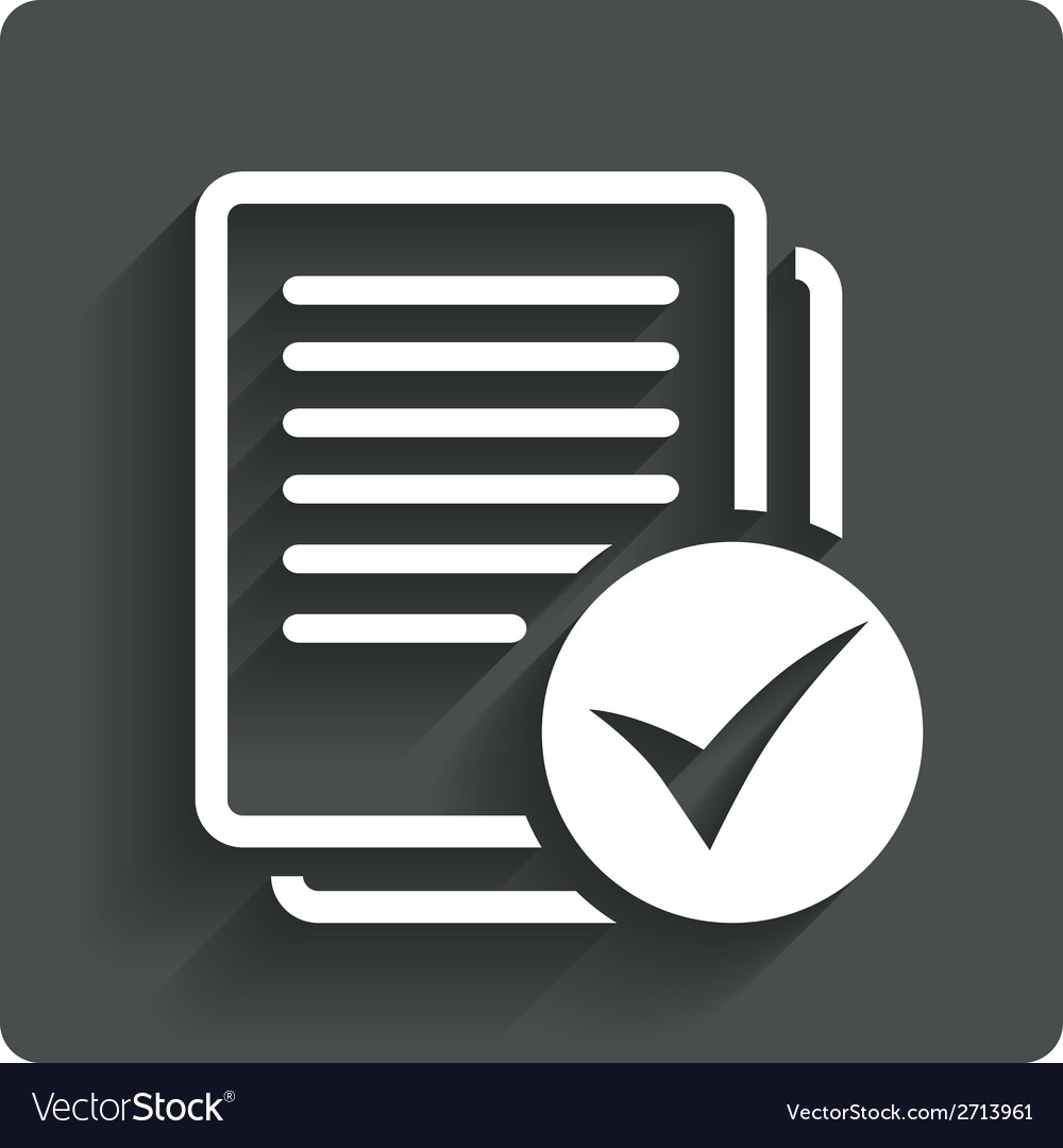 Text file sign icon check file document symbol vector | Price: 1 Credit (USD $1)