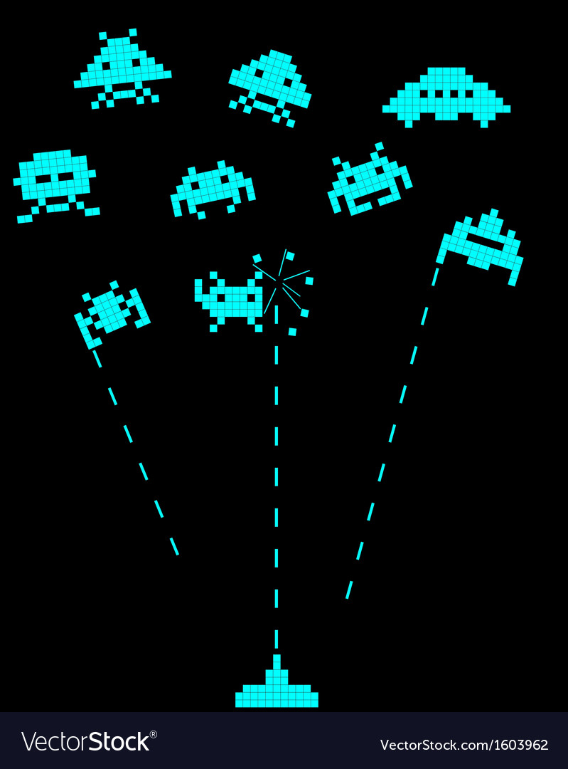 Battle with space invaders vector | Price: 1 Credit (USD $1)