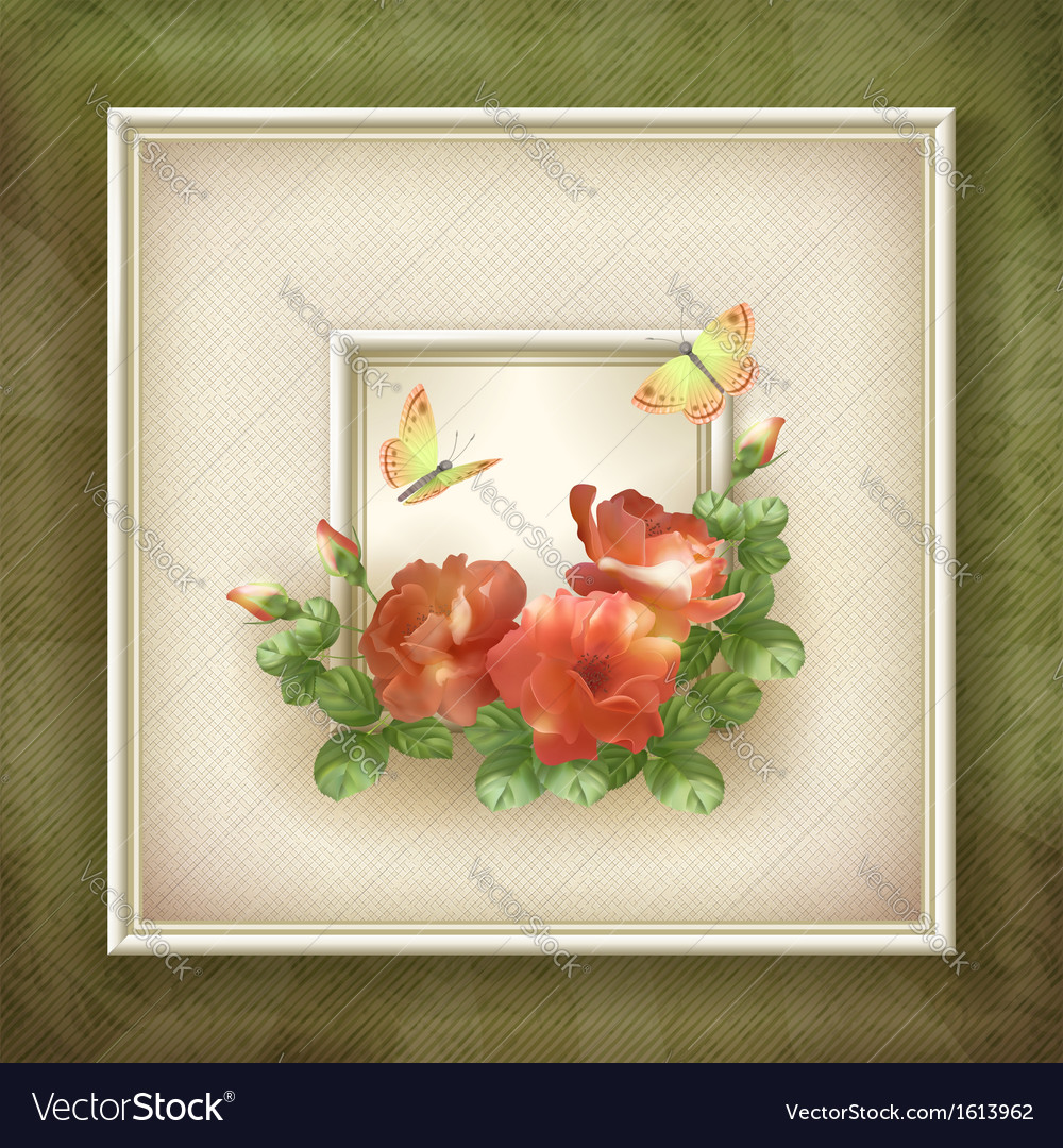 Border frame background flower butterfly design vector | Price: 1 Credit (USD $1)