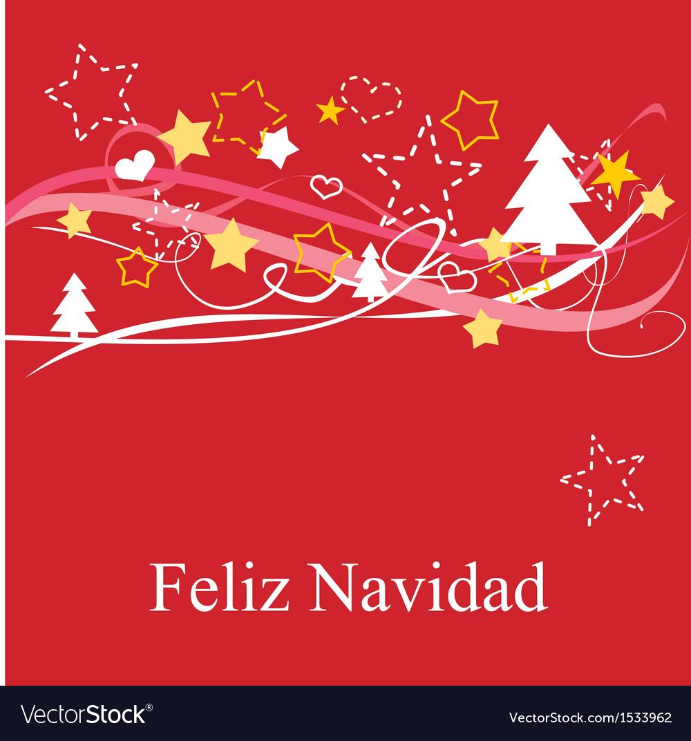 Christmas card in espanol feliz navidad vector | Price: 1 Credit (USD $1)