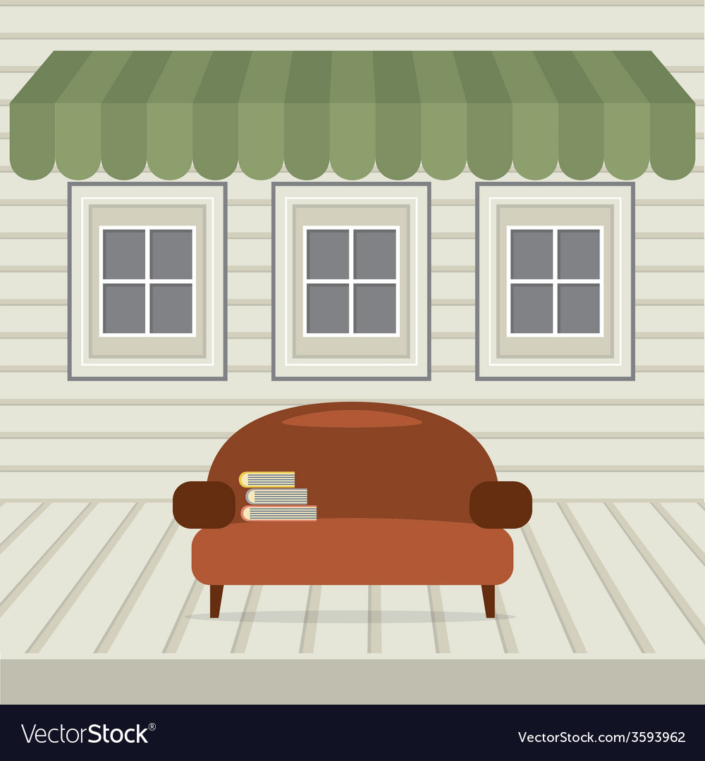 Empty sofa with books under awning and windows vector | Price: 1 Credit (USD $1)