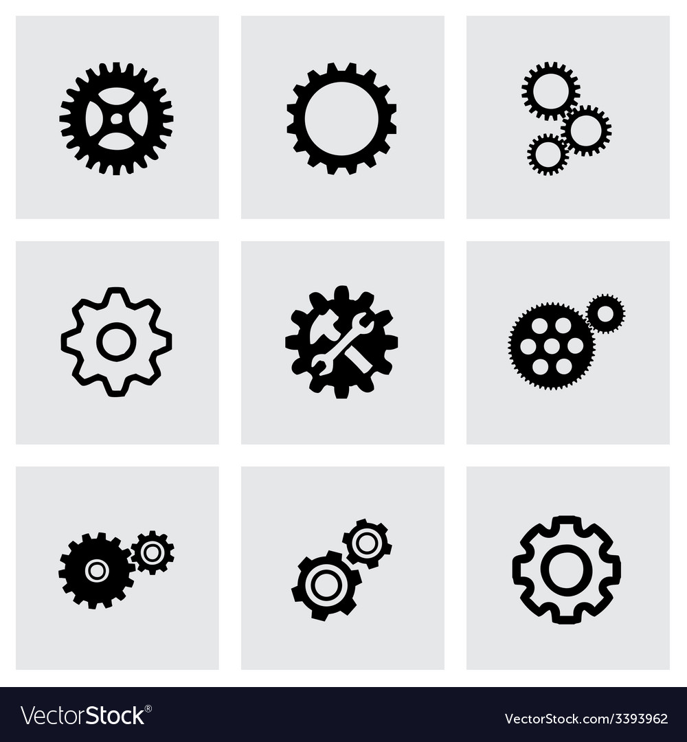 Gear icons set vector | Price: 1 Credit (USD $1)