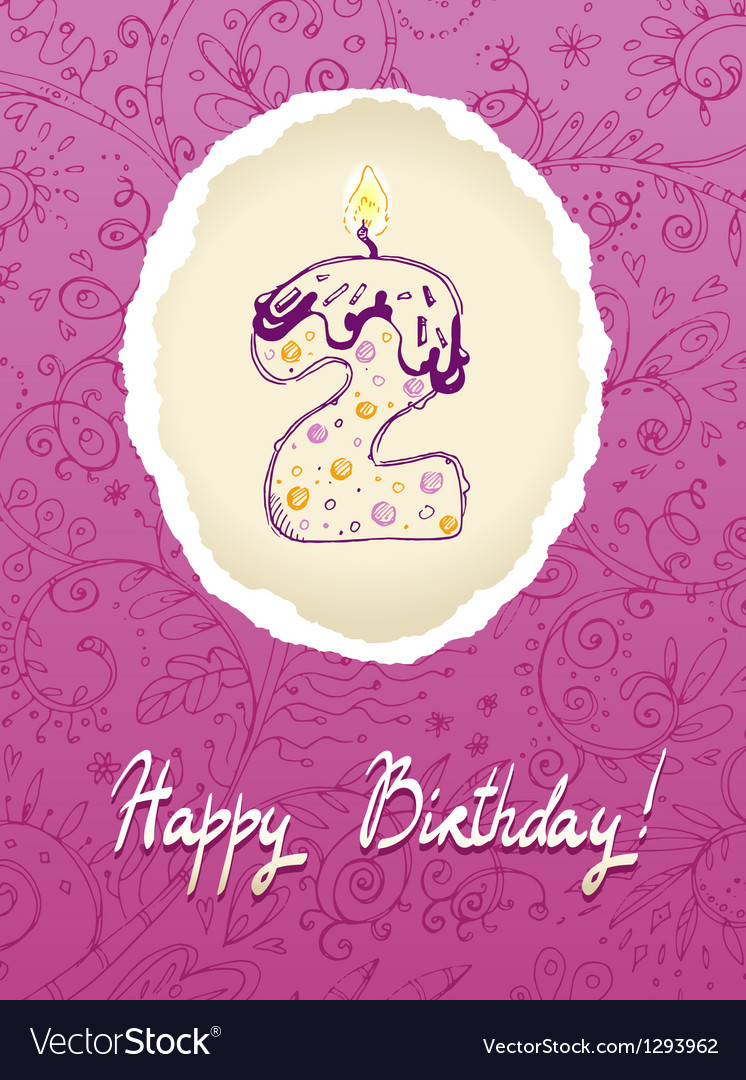 Happy birthday card with candle number vector | Price: 1 Credit (USD $1)