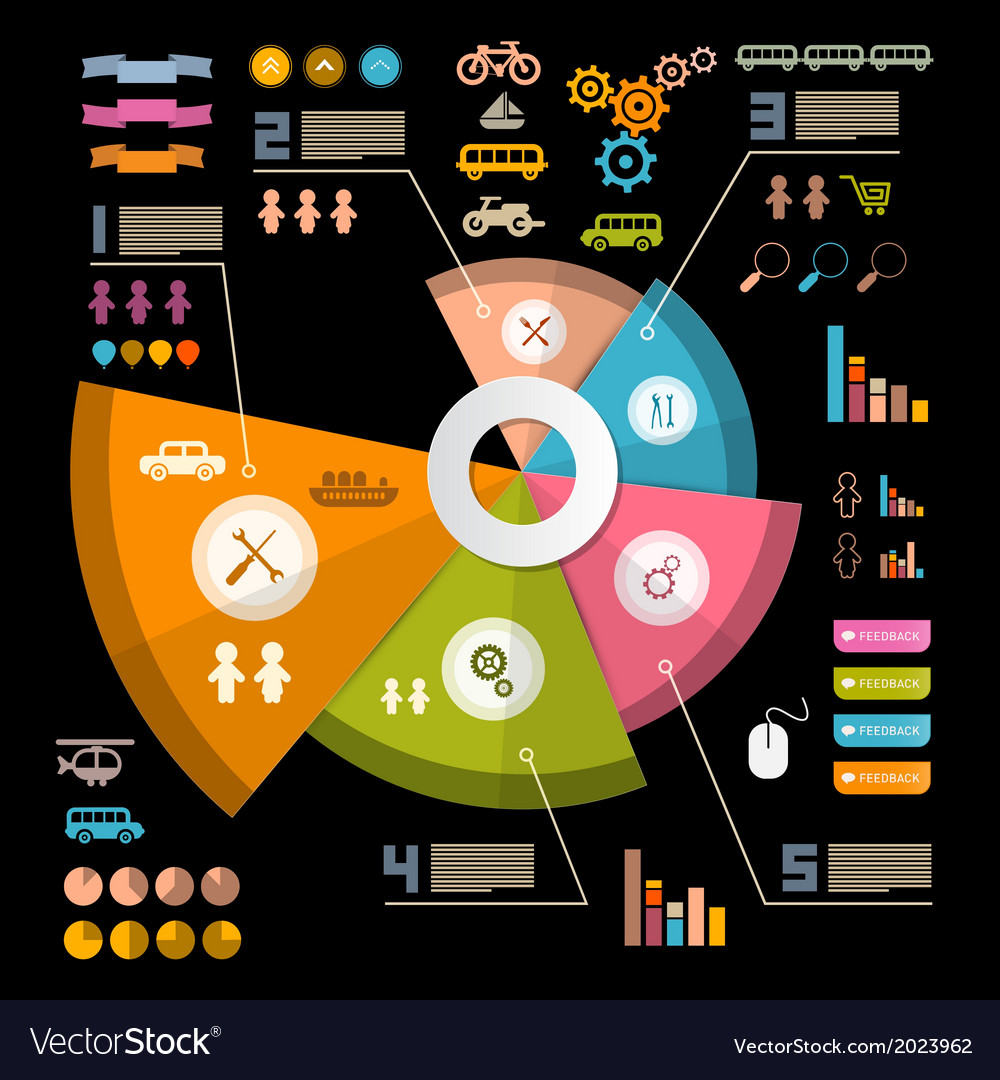 Infographics layout with icons - elements on black vector | Price: 1 Credit (USD $1)