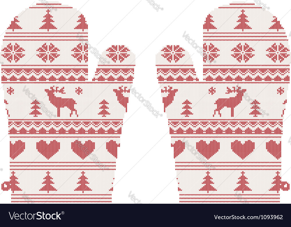 Knitted christmas mittens vector | Price: 1 Credit (USD $1)
