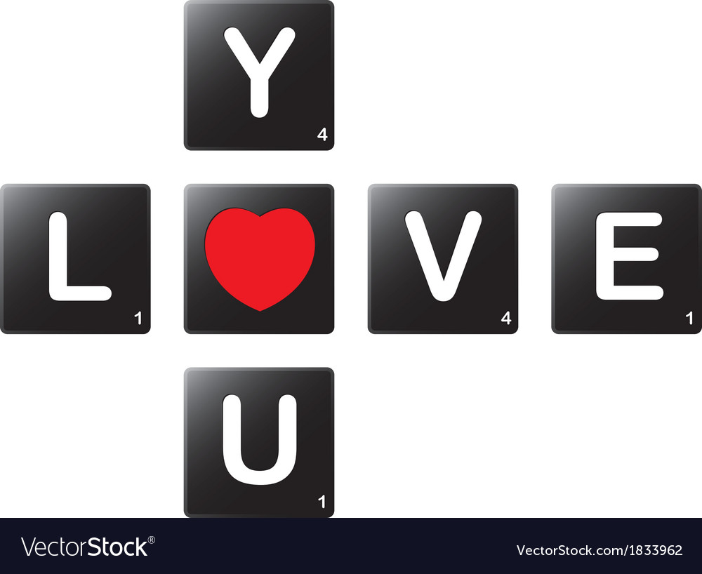 Love you crossword by scrabble tiles vector | Price: 1 Credit (USD $1)