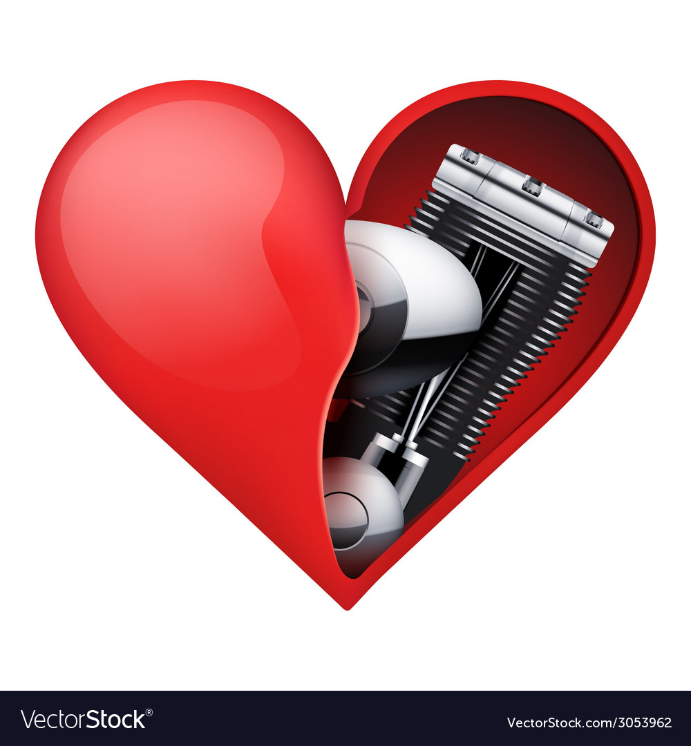 Metal engine inside a red heart vector | Price: 1 Credit (USD $1)
