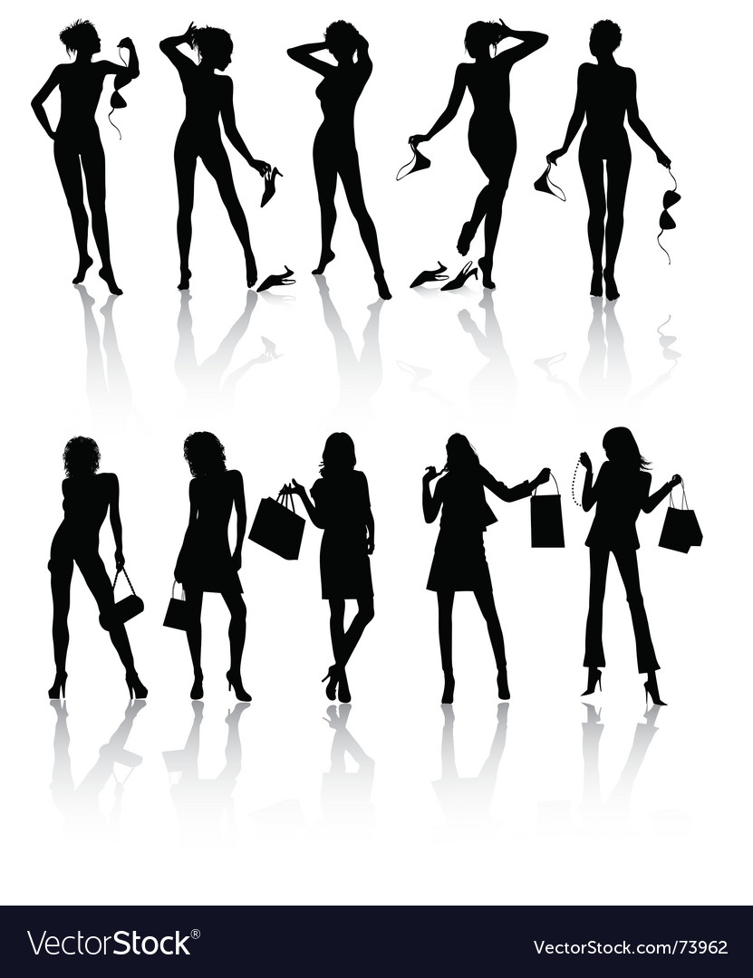 Ten isolated beautiful woman vector | Price: 1 Credit (USD $1)