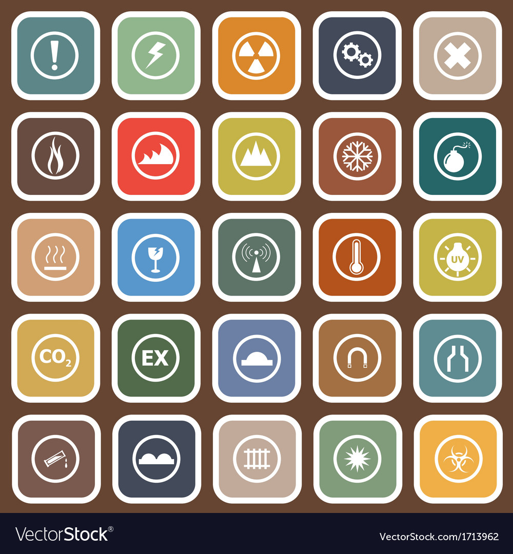Warning flat icons on brown background vector | Price: 1 Credit (USD $1)