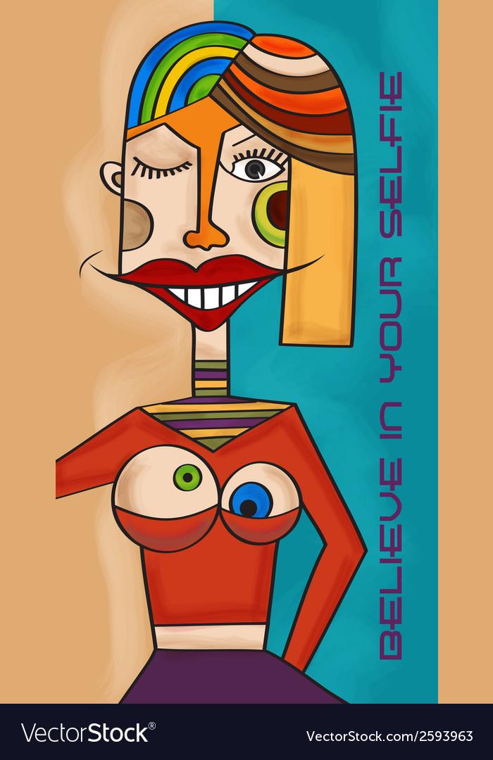 Believe in your selfie fun cubist art vector | Price: 1 Credit (USD $1)