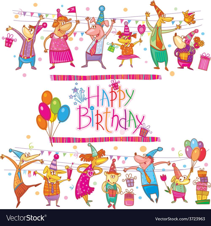 Birthday cartoon set vector | Price: 1 Credit (USD $1)
