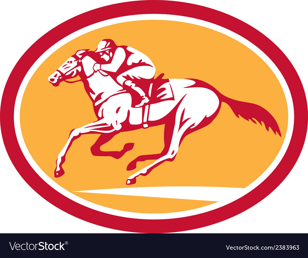 Jockey riding horse racing circle retro vector | Price: 1 Credit (USD $1)