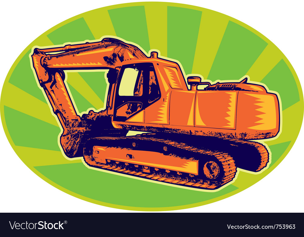 Mechanical digger excavator trac vector | Price: 1 Credit (USD $1)