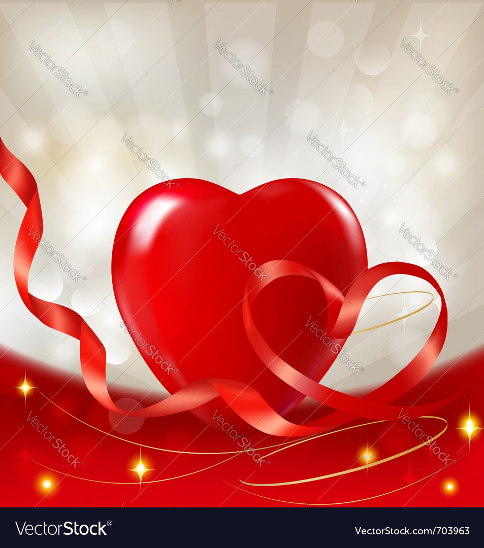 Red heart with ribbons vector | Price: 1 Credit (USD $1)
