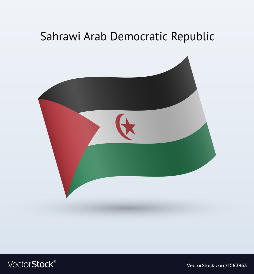 Sahrawi arab democratic republic flag waving form vector | Price: 1 Credit (USD $1)