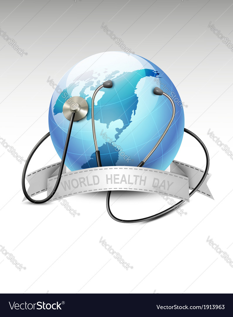 Stethoscope against a globe world health day vector | Price: 3 Credit (USD $3)