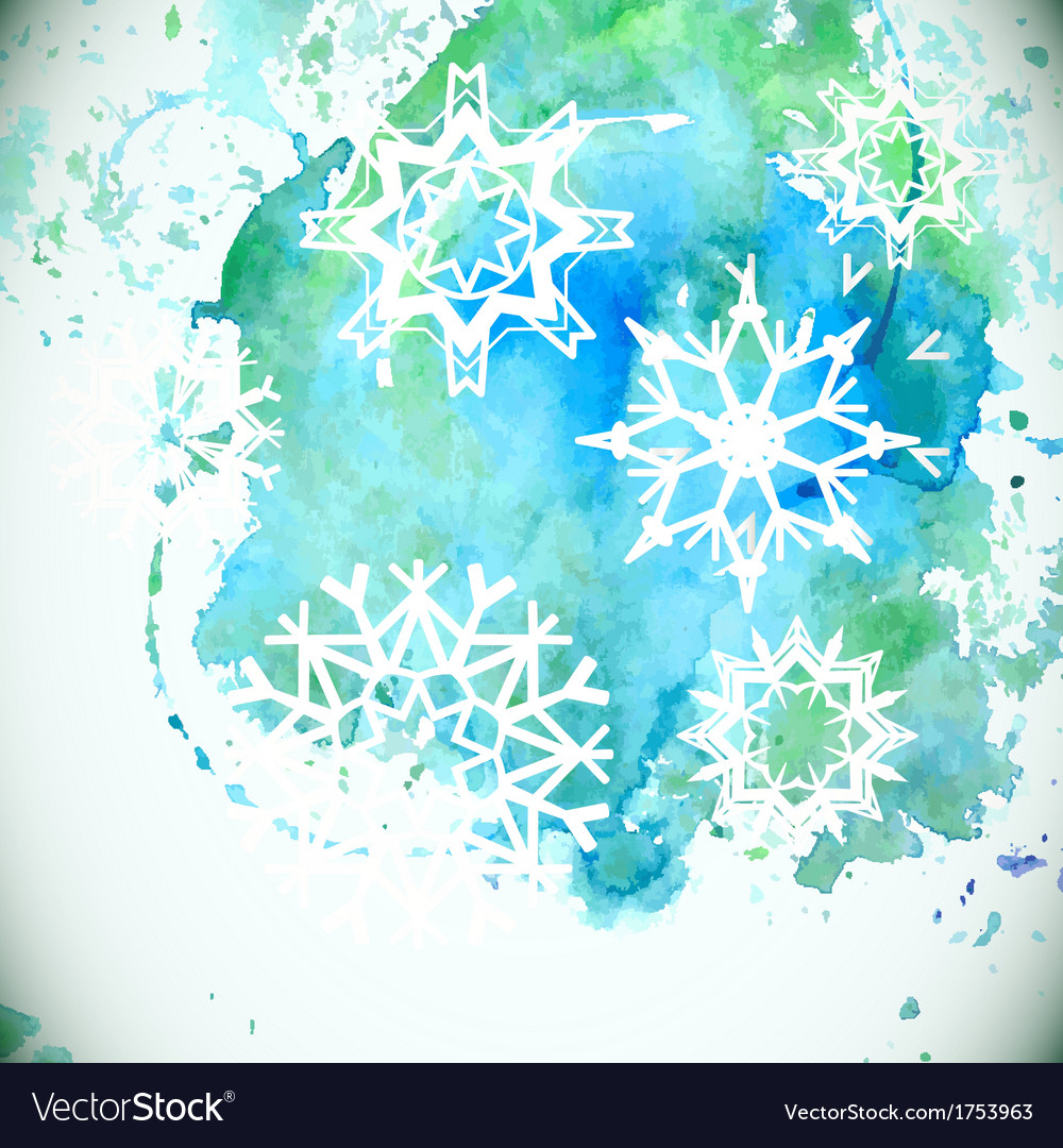 Watercolor snowflakes background vector | Price: 1 Credit (USD $1)