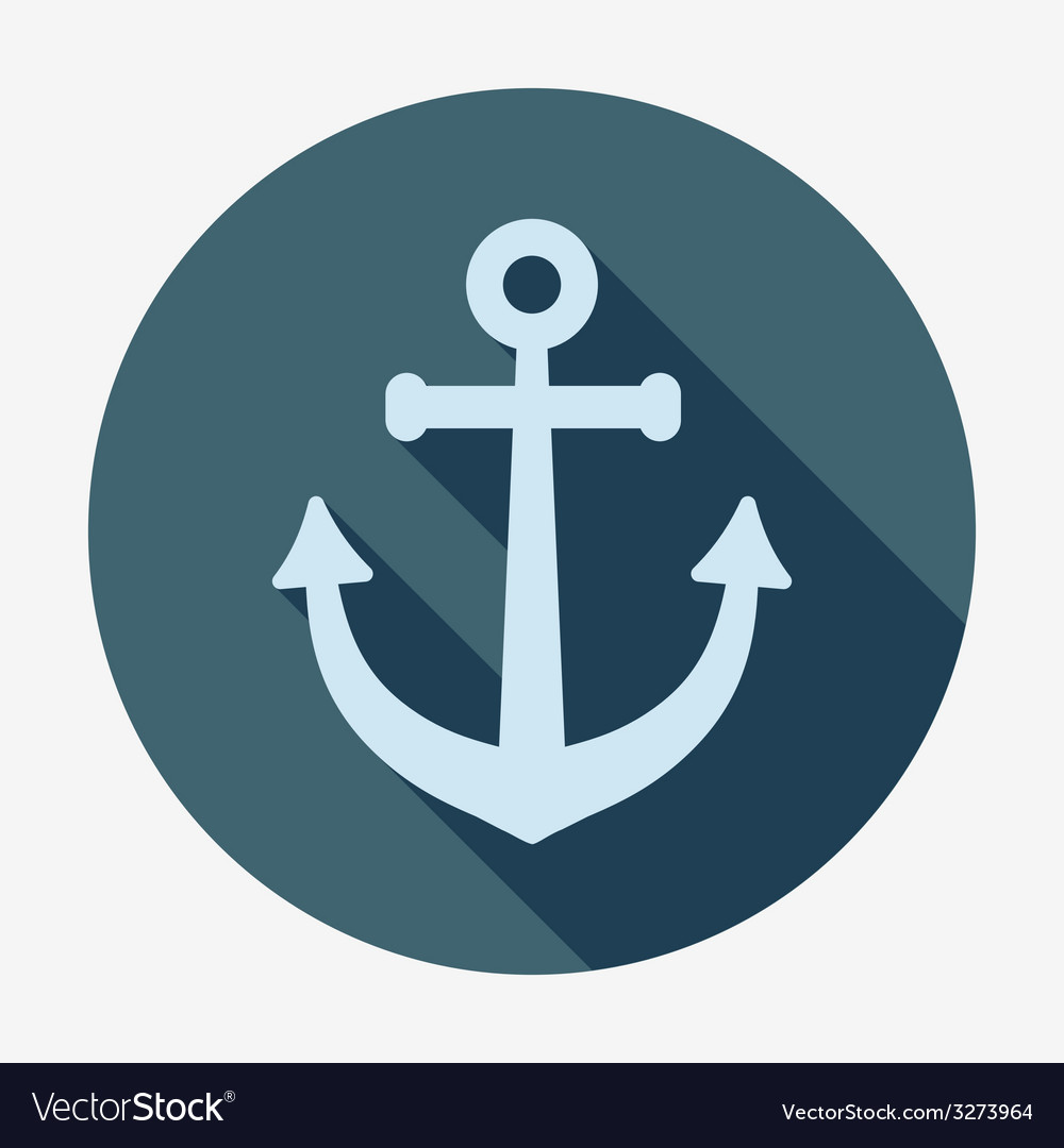 Anchor icon with long shadow pirates and sea flat vector | Price: 1 Credit (USD $1)