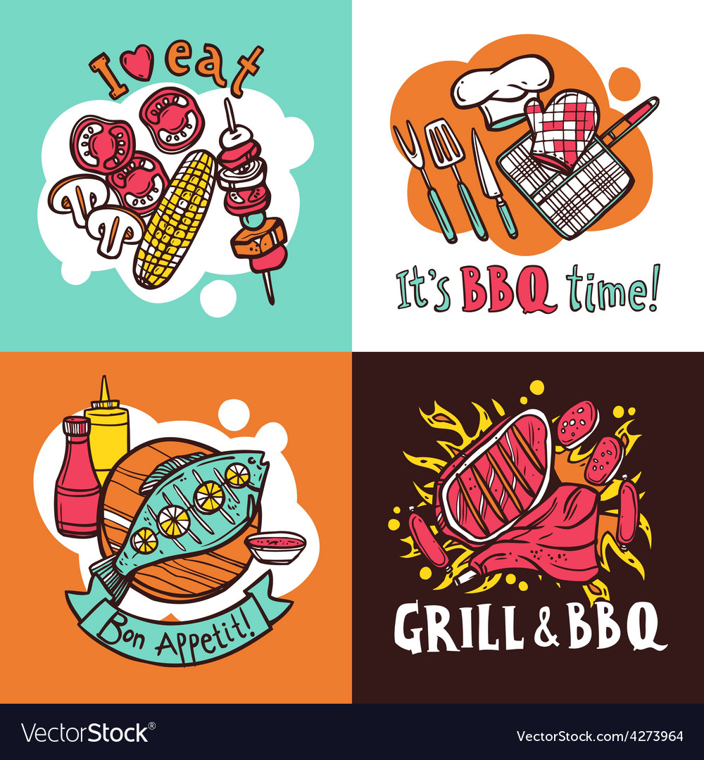 Bbq grill design concept set vector | Price: 1 Credit (USD $1)