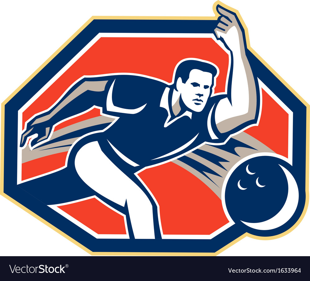 Bowler throw bowling ball retro vector | Price: 1 Credit (USD $1)