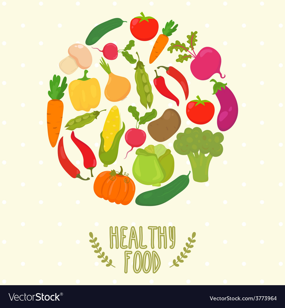 Circle from vegetables healthy food vector | Price: 1 Credit (USD $1)