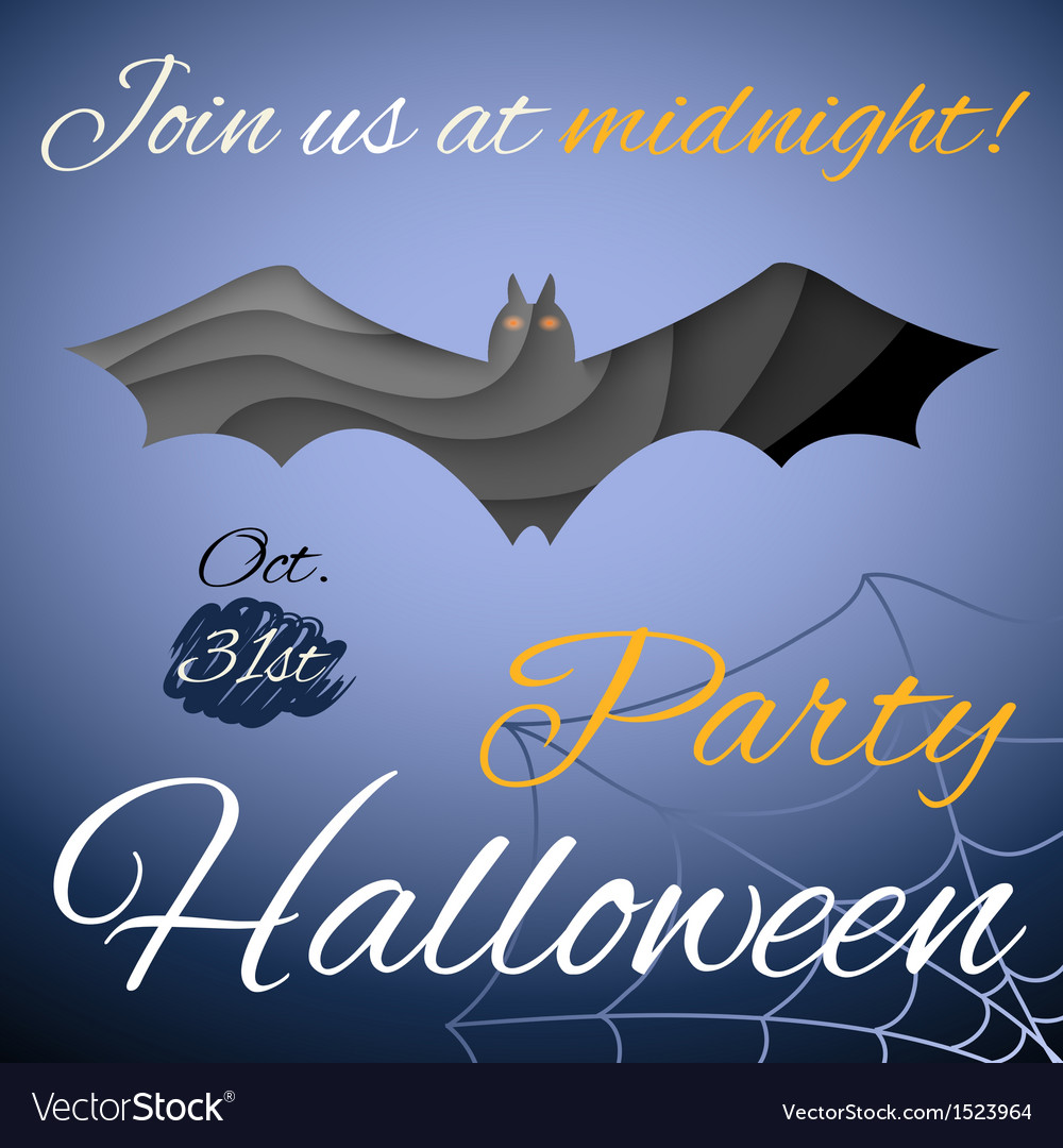 Halloween party poster dark paper bat vector | Price: 1 Credit (USD $1)