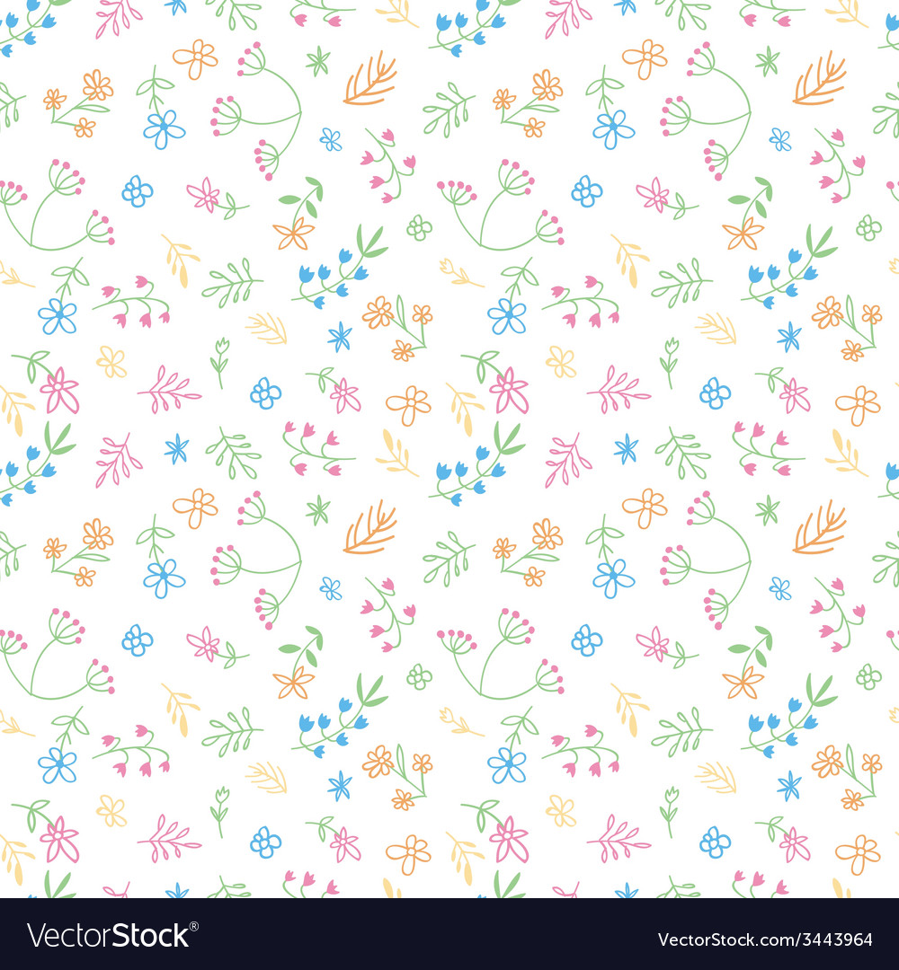 Hand drawn doodle flower seamless pattern vector | Price: 1 Credit (USD $1)