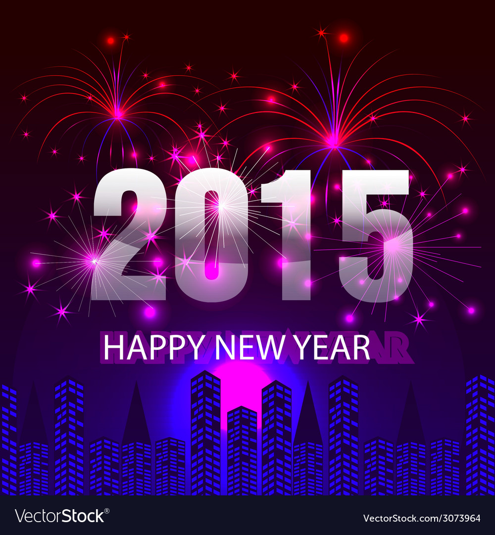 Happy new year 2015 with fireworks background vector | Price: 1 Credit (USD $1)