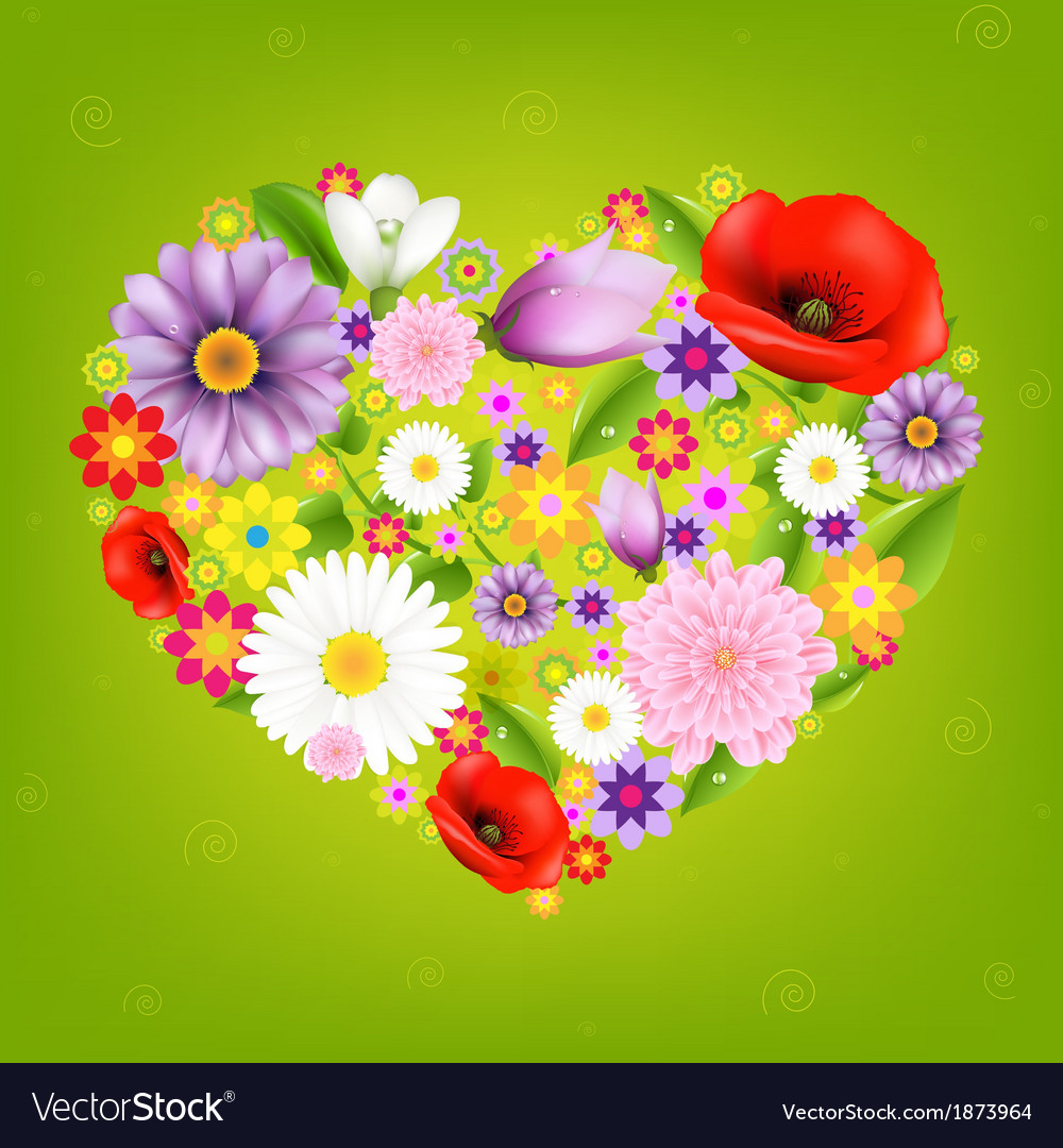 Heart from flowers with green background vector   Price: 1 Credit (USD $1)