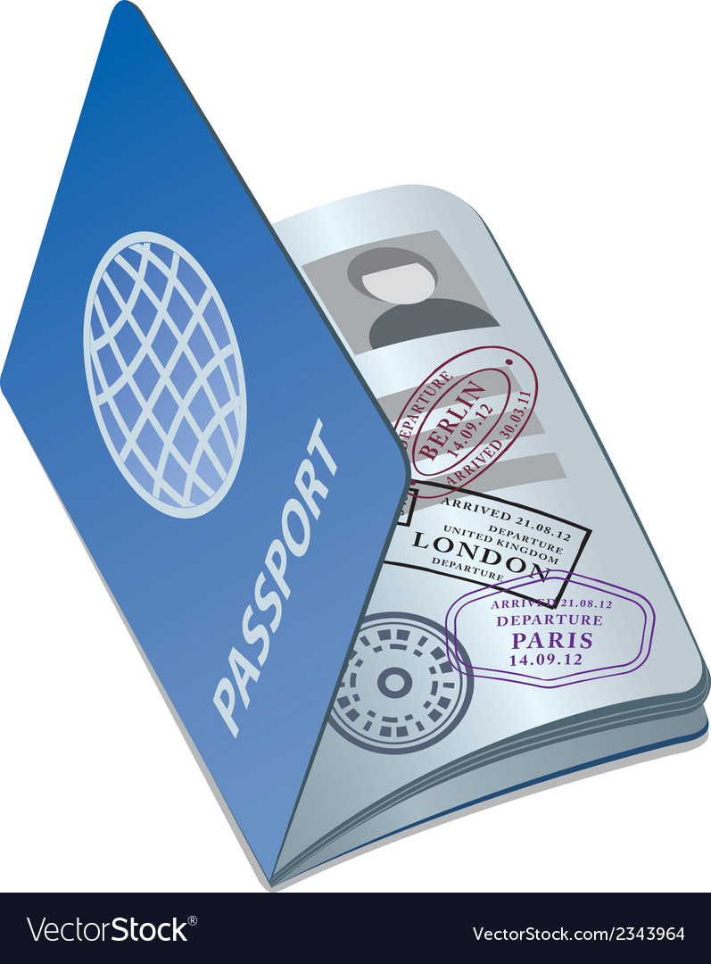 Passport with visa vector | Price: 1 Credit (USD $1)