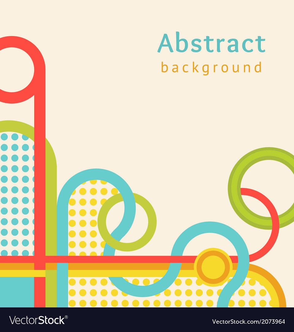 Retro background with color stripes and circles vector | Price: 1 Credit (USD $1)