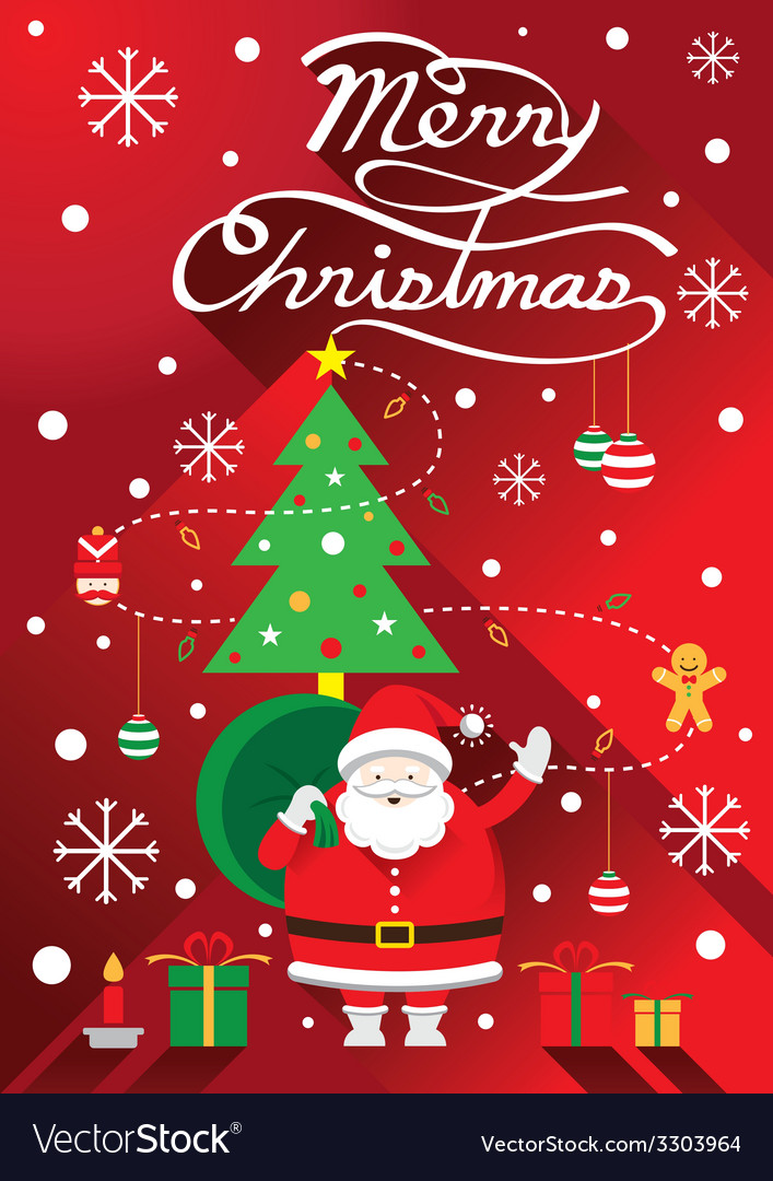 Santa christmas text and tree vector | Price: 1 Credit (USD $1)