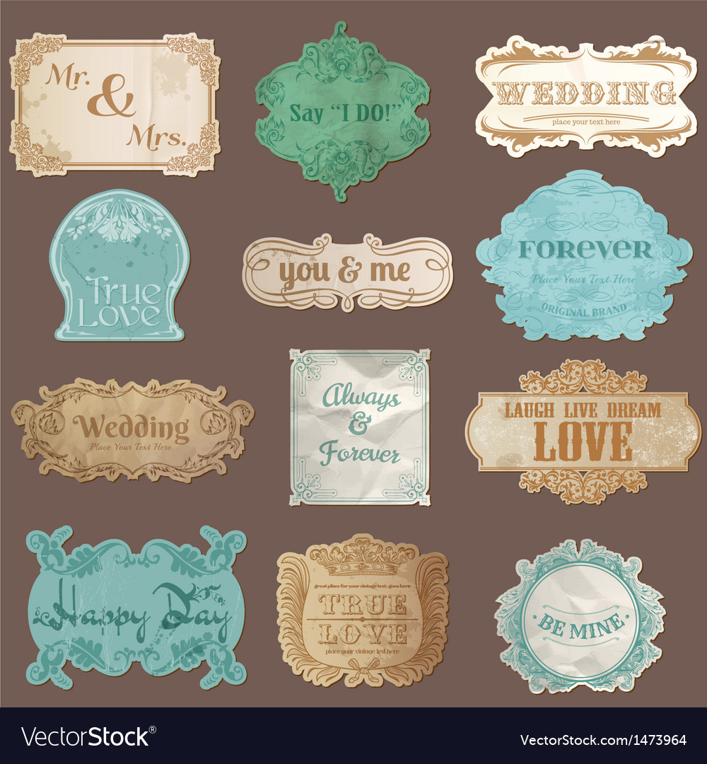 Vintage paper wedding frame collection vector | Price: 1 Credit (USD $1)