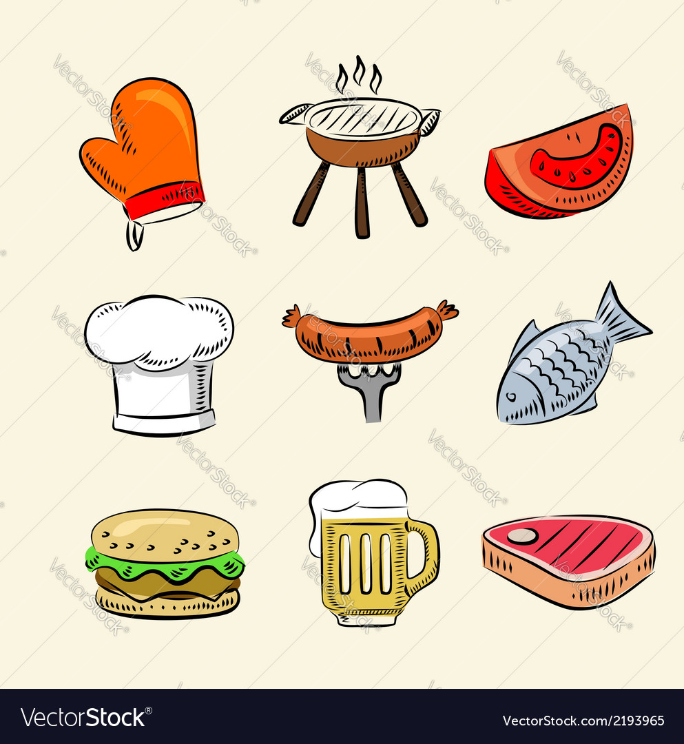 Barbecue icon set vector | Price: 1 Credit (USD $1)